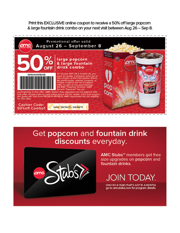 50 Off Soda And Popcorn At Any AMC Theater This Week Next