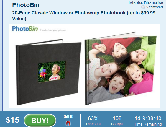 Photobin Photo Book for $20 (50% off!!!!)