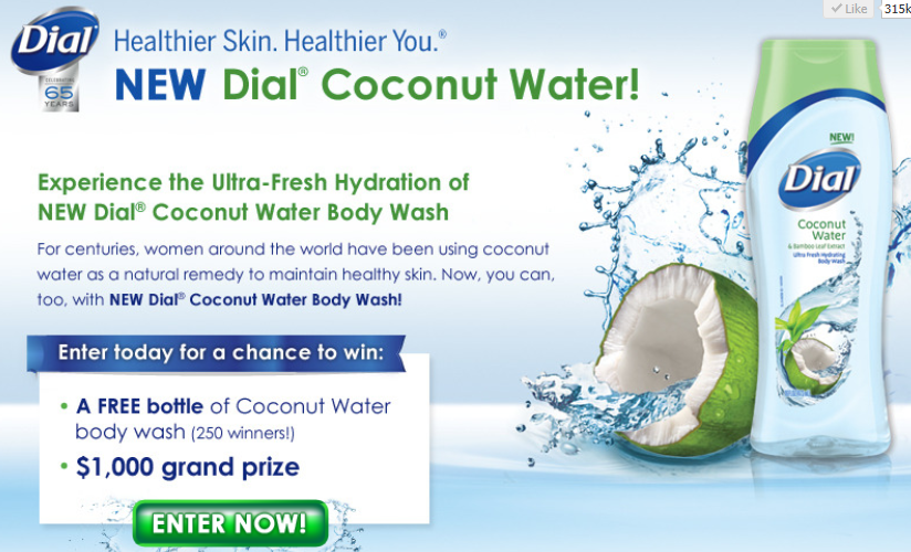 Dial Coconut Water Body Wash Giveaway