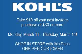 Kohl's March 30% Off Coupon Code