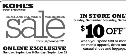 Head over and print this $10 off $30 Kohl's Coupon good for (Men's