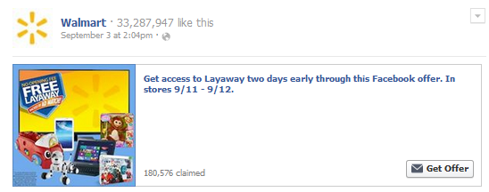 Walmart Early Layaway Facebook Offer