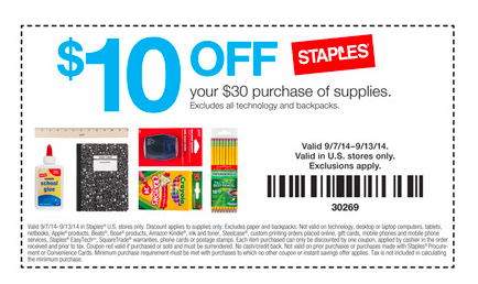 Staples 25 off 75 coupon code free 2018