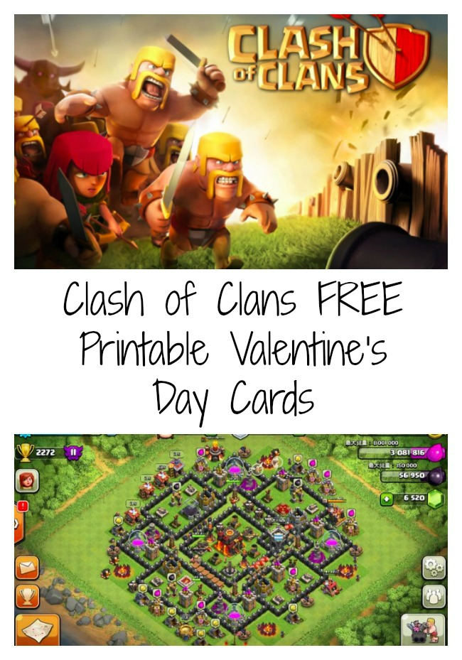 FREE Printable Clash of Clans Valentines Day Cards Debt Free – Online Printable Valentine Cards