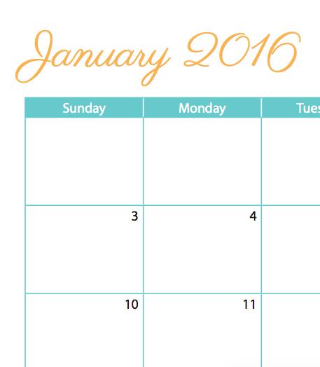 week at a glance calendar