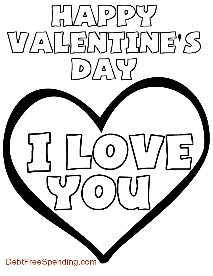 "Valentine\'s Day ""I Love You"" Coloring Page"